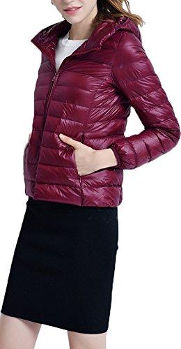Classico Del Parka Giacche Donna Leggero Piumino Ultra Del Borgogna per con Cappuccio Rivestimento Zipper Mochoose Invernale Cappotto pw0xIgPqq