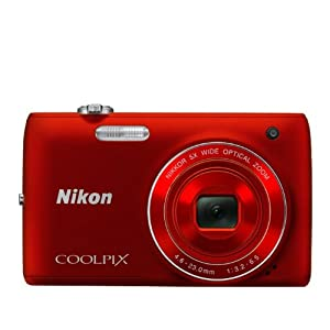 Nikon COOLPIX S4100 14 MP Digital Camera with 5x NIKKOR Wide-Angle Optical Zoom Lens and 3-Inch Touch-Panel LCD (Red)