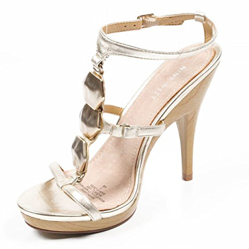 NINE WEST - Sandalia De La Correa Del Tobillo Para Mujer NWVENCENTIO LIGHT GOLD Tacón: 12.5 cm