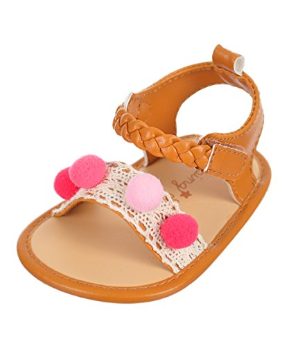 Rising Star Baby Girls' Sandal Booties - Pink/Multi, 9-12 Months (Strappy Star)