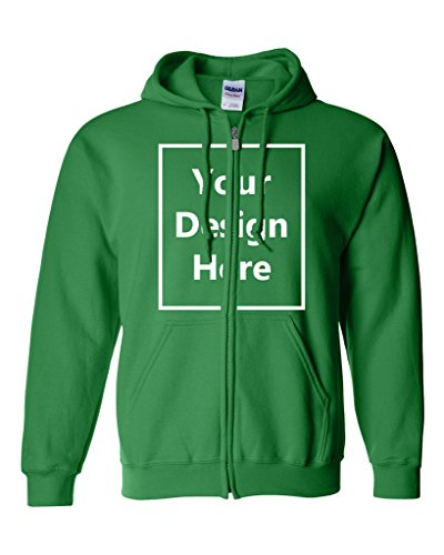 Add Your Own Text and Design Custom Personalized Sweatshirt Zip Hoodie (X Large, Irish Green)