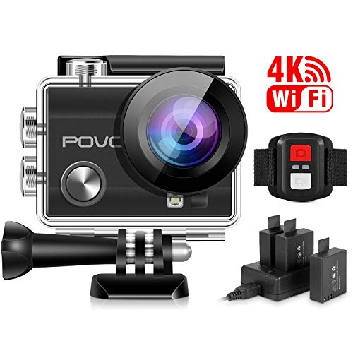 POVO Action Camera 4K Sports Cam Wifi Helmet Cam Wide Angle Sensor DV Camcorder Underwater Camcorder with Remote Control & 3 Batteries & Waterproof Case & Mounting Accessories Kits