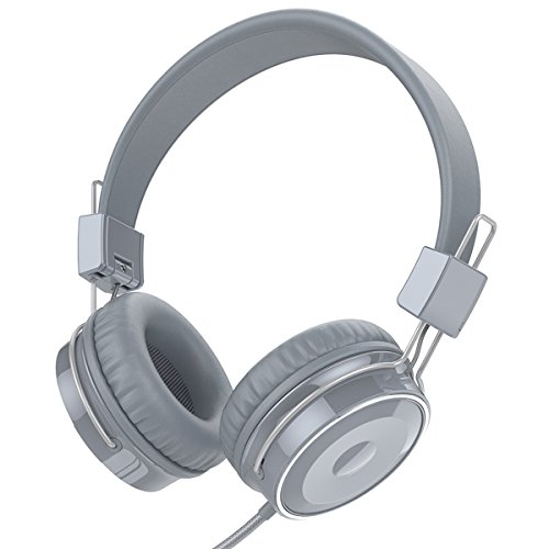 Baseman Wired Stereo Folding Over-ear Headphones Low Bass Earphones with Microphone 3.5mm Headsets for Cellphones iphone Laptop Tablet Mp4 Mp3 PC Macbook (Gray) by BASEMAN