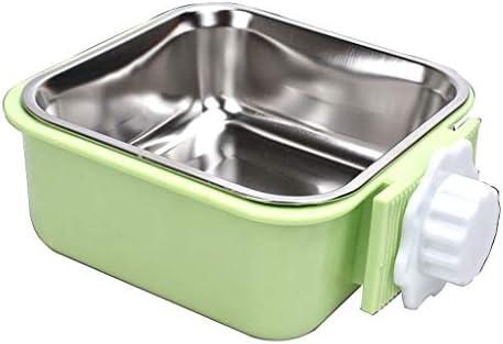 JIANXIN 猫のボウル、ペットの犬のボウル、吊り猫の食品ボウル、ステンレス鋼、自由に調整可能 (色 : Green)