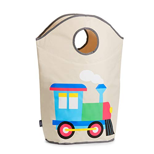 Wildkin Laundry Hamper, Features Mesh Bottom and Two Top Carrying Handles, Perfect for Promoting Organization, Coordinates with Other Room Décor, Olive Kids Design - Train