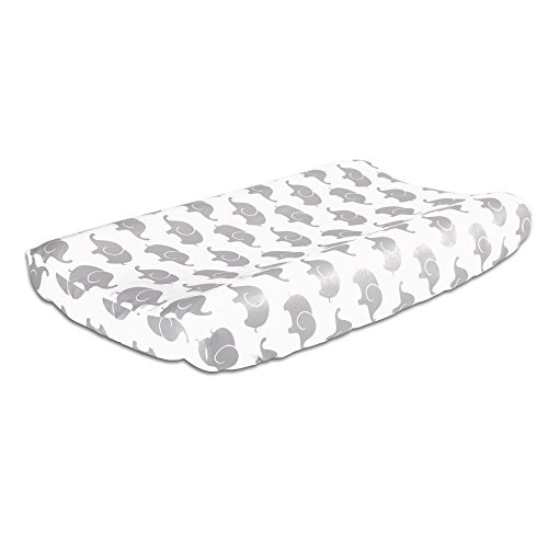 Grey Elephant Print Cotton Changing Pad Cover by The Peanut Shell (Weave Shell)