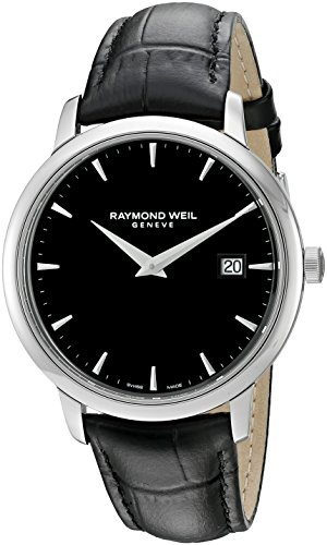 Raymond Weil Men's 'Toccata' Swiss Quartz Stainless Steel and Leather Watch, Color:Black (Model: 5488-STC-20001)