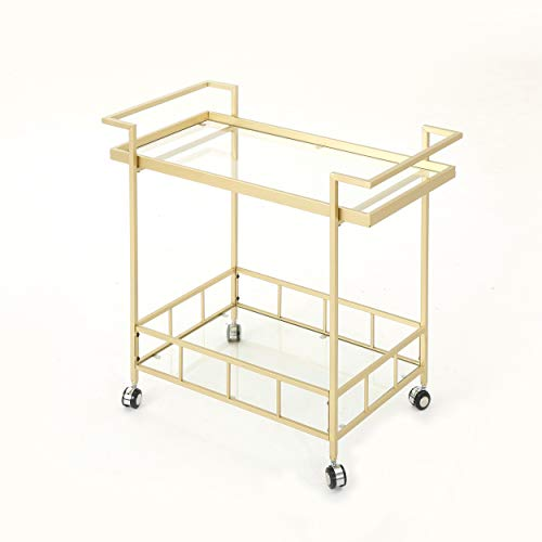 Brass Carts Serving - Christopher Knight Home 304467 Amaya Indoor Industrial Iron and Glass Bar Cart, Gold,