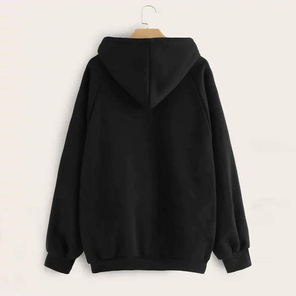 YESOT Hoodie Sweatshirt for Womens Long Sleeve Daily Hooded Pullover Pure Color Tops Blouse with Pocket