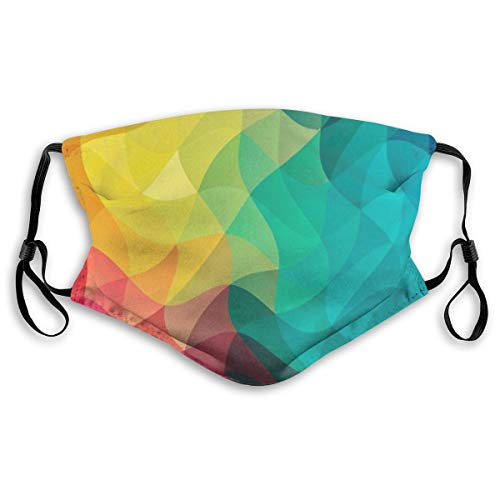MAMIBAOYA Colored Curve KN95 Mouth Mask, Replaceable Filter Element for Reuse Mask Personality Printed Anti-Pollen Dust Mask Anti-dust Polyester Face Mask