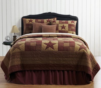 Ninepatch Star 4 Piece King Quilt Set - Echo Bed Ensemble