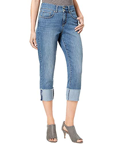 (Style & Co Tummy-Control Cuffed Capri Jeans (Firestone, 18))