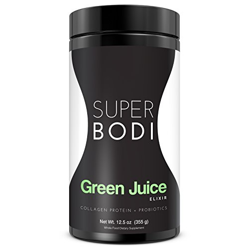 Green Juice Powder with Collagen Protein and Probiotics by SUPERBODI. This All-Natural Protein and Greens Superfood is a premium grade , complete energy 3-in-1 Juice Formula to Keep You Lean & Fit. by SUPERBODI