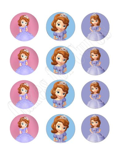Sofia the first princess edible cupcake toppers