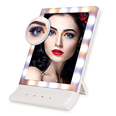 Euph Lighted Vanity Mirror 18 LED Makeup Mirror with Removable 10X Magnifying Mirror, Touch Screen and Multiple Illumination Settings