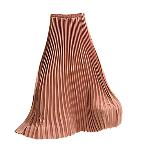 Xiarookp 2019 Fashion Women Solid Pleated Elegant Elastic Waist Sexy Long Maxi Skirt Hot Pink