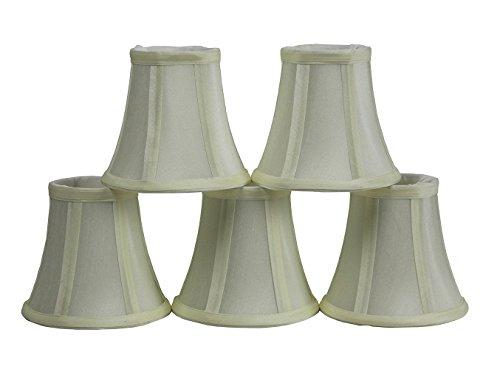 Set of 5 Eggshell Chandelier Shade, 5-inch Bottom Diameter, 4.5-inch Height, Faux Silk, Bell Shape, Clip on
