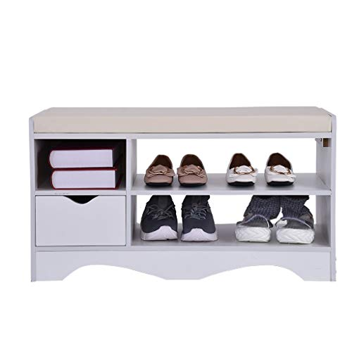 Iusun Shoe Rack Cushion With Drawers 2-Tier Shoes Bench Storage Shelf Origanizer Bench for Living Room Hallway Front Door Entryway Foyer Garden 31.5x11.8x16.9''- Ship From USA (White) ()