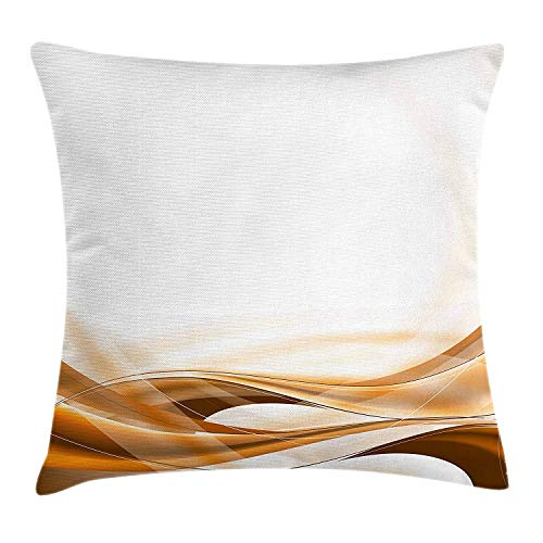 Queolszi Camel Color Throw Pillow Cushion Cover, Abstract Brown Color Flowing Simplistic Design Motion Vitality Waves, Decorative Square Accent Pillow Case, 18 X 18 inches, Orange Brown White