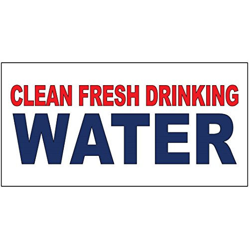 Clean Fresh Drinking Water Red Blue DECAL STICKER Retail Store Sign Sticks to Any Surface