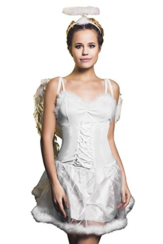 Heavenly Sent Angel Costume (Adult Women Sweet Angel Halloween Costume Divine Messenger Dress Up & Role Play (Small/Medium, white))