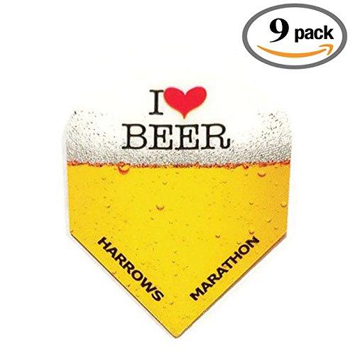 9 Pack Harrows Marathon I Love Heart Beer & Darts 100 Micron Extra Strong Dart Flights (9 Ct Heart)