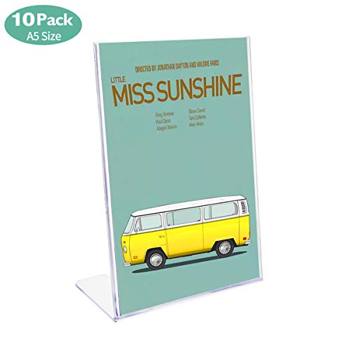 (Hotyin Sign Holder - 10 x A5 Acrylic Poster Menu Holder Lean to Perspex Leaflet Display Stands, Counter Poster Sign Display Holder for Restaurant, Conference Room and Hotel Reception)