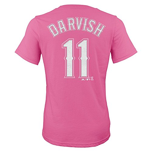 - Outerstuff Yu Darvish Texas Rangers MLB Majestic Pink Name & Number T-Shirt Girls (7-16)