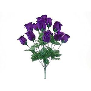 "Phoenix Silk 2 Bushes PURPLE Rose Buds 28 Artificial Silk Flowers 17"" Bouquet 643PU 106"