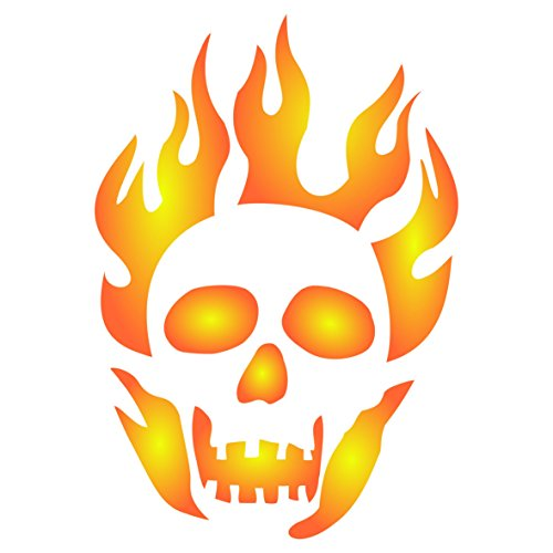 "Halloween Flaming Skull Stencil - (Size 8""w x 11.5""h) Reusable Halloween Wall Stencils for Painting - Best Quality Decor Ideas - Use on Walls, Floors, Fabrics, Glass, Wood, and -"