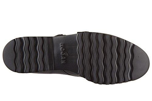 Hogan scarpe classiche donna nuove pelle monk strap h259 route nero