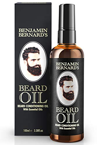 Beard Oil – Beard Grooming Conditioner Oil for Men by Benjamin Bernard – Encourage Healthy Beard Growth, Well-Groomed Style – Lightly Scented, Contains Jojoba, Almond Oil – Vegan Beard Care 3.38 Fl.oz