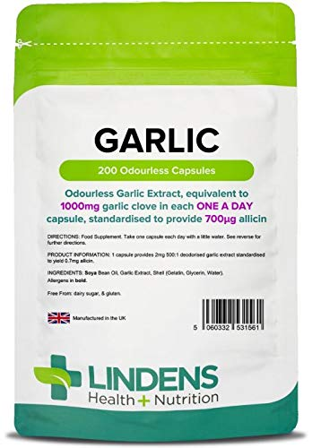 Lindens Garlic 1000mg Odourless Capsules | 200 Pack | Each capsule provides...