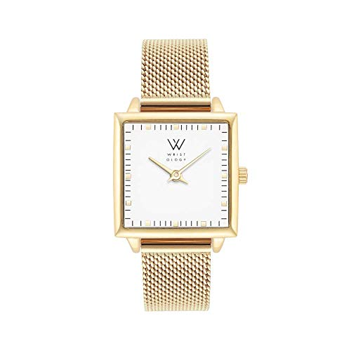 - WRISTOLOGY Julia Petitie Square Womens Watch Gold Metal Mesh Ladies Changeable Strap Band