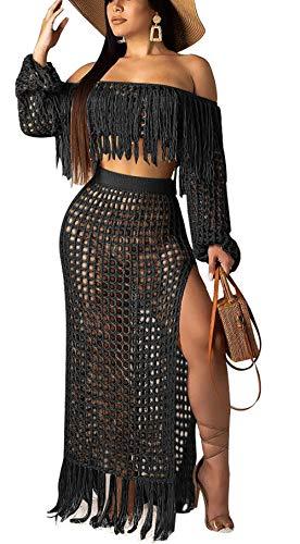 Women's Mesh Two Piece Skirt Set Tassel Hem Crop Top Skirt Set Summer Bodycon Maxi Dress - Hem Skirt Set