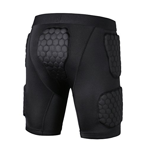 PINMEI Mens Padded Compression Short Crashproof Anti-impact for Basketball Football Soccer Hockey Rugby Cycling (Short, M) Photo #2