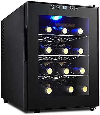 SHENXINCI Termostato Electronico Nevera para Vinos De Compresor, 12 Botellas Estándar De Vino -Rango De Temperatura 10-18 ° C (50-64 ° F)[Clase De Eficiencia Energética C]