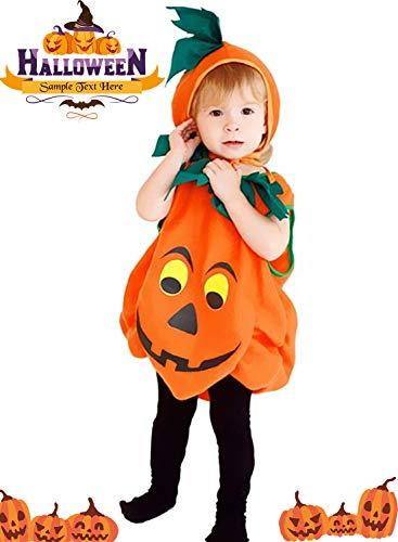 LANCYBABY Halloween Orange Pumpkin Plush Cutie Unisex Costume Set for Party Children Clothing Fancy Dress Up 3-6year, Playful Pumpkin, Large]()
