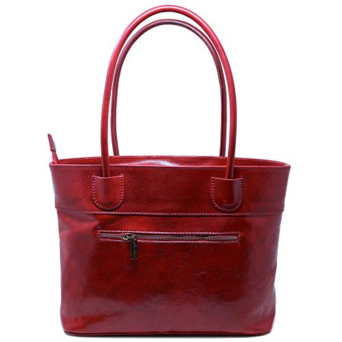 - Floto Napoli Italian Leather Women's Shoulder Bag Handbag Purse (Tuscan Red)