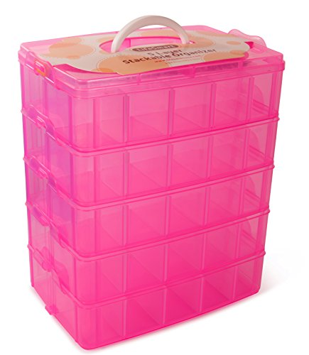 Stackable Display Case - LifeSmart USA Stackable Storage Container Pink - 50 Adjustable Compartments - Store More Than All Other Cases - Lego Dimensions - Shopkins - Littlest Pet Shop - Arts and Crafts - And More!