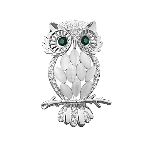 Owl Vintage Pins - LuckyJewelry Vintage Cheap Crystal Rhinestone Perched Cute Green Eyed Owl Brooch and Pin for Sale (Silver Plated)