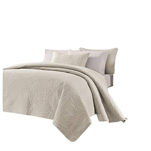 Chezmoi Collection Austin 3-Piece Oversized Bedspread Coverlet Set (King, Ivory)