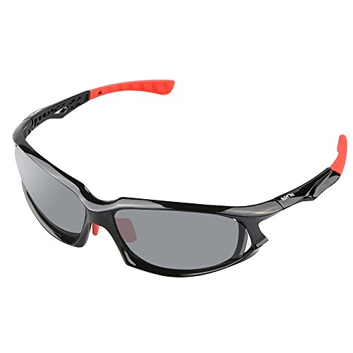ALKAI Polarized Sports Sunglasses, 100%UV Protection Unbreakable Sports Glasses for Mens Womens Cycling Fishing Golf Running Driving Hiking Outdoor Superlight Frame (Black-Red/Gray)