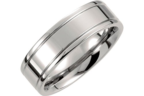 Titanium 7mm Flat Ridged Comfort Fit Band, Size 9 by The Men's Jewelry Store