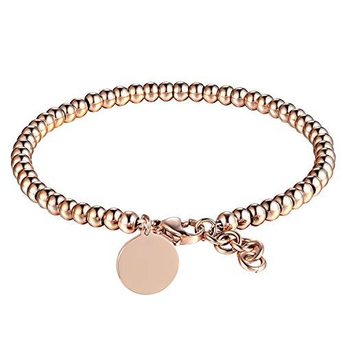 Hobbyant Lucky Beads Round Pattern Titanium Steel Bracelet (Rose Gold)