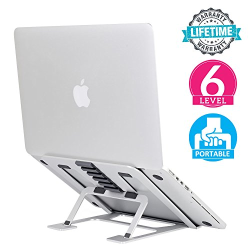 Laptop Stand for Desk, 6-Level Adjustable Laptop Riser Stand Ventilated Aluminum Laptop Table Stand Ergonomic Holder Mount for 7-15'' MacBook/Notebook / iPad/Tablet / Kindle, Portable & Foldable by CABINAHOME
