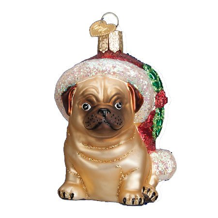 Holly Hat Pug Glass Blown Ornament (Pug Dog Christmas Tree Ornament)