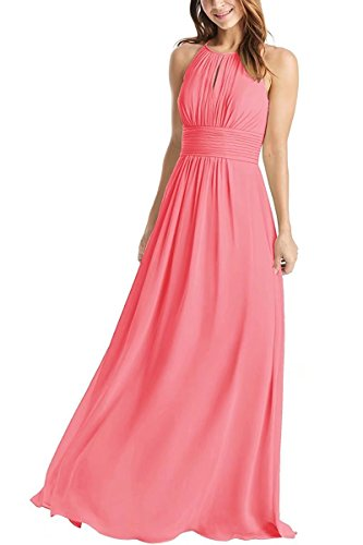 Long Coral (Weddder Halter Bridesmaid Dresses Long A-Line Pleated Empire Waist Chiffon Prom Dresses Coral Size 6)