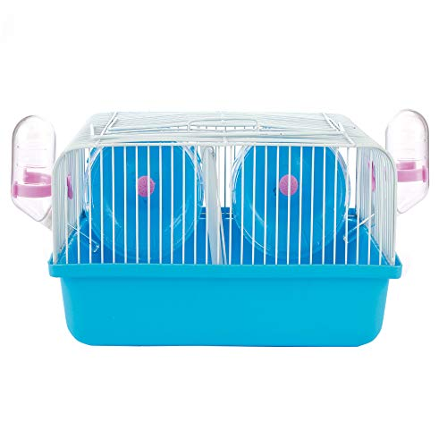 SMOOTHEDO Double Wheel Hamster Date Cage Pet Portable Carrier Carry Case Cottage Small Animal Habitat