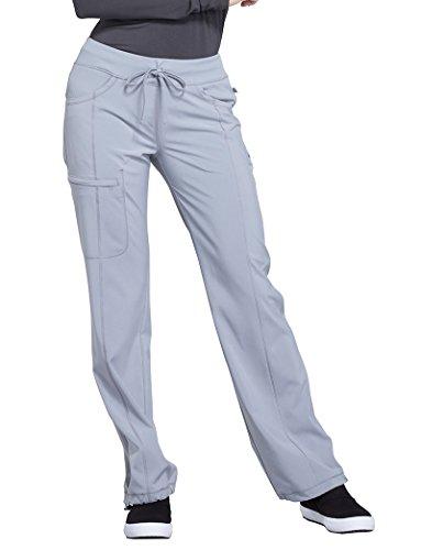 Cherokee Infinity by Women's Rib Knit Drawstring Waist Scrub Pant X-Large Petite Grey (Poplin Uniform Cherokee)